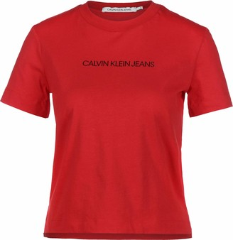Calvin Klein Jeans Women's Shrunken INSTITUTIONAL Logo TEE T-Shirt