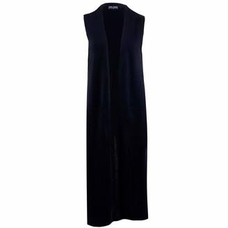 Paul James Knitwear Womens Pure Extra Fine Merino Wool Sleeveless Longline Cardigan (Black M)