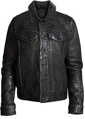 PRPS Men's Cherub Graphic Leather Trucker Jacket