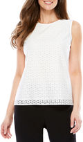 BLACK LABEL BY EVAN-PICONE Black Label by Evan-Picone Sleeveless Crew Neck Eyelet Blouse