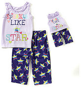 Komar Kids Little/Big Girls 4-14 Sparkle Like a Star Top & Pants Pajama Set