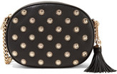 MICHAEL Michael Kors Ginny Embellished Textured-leather Shoulder Bag - Black