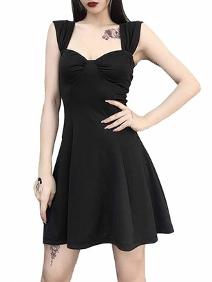 Oyolan Womens Sexy Bodycon Flared Pleated Mini Dress Shoulder Strap Punk A-line Dress Clubwear Black S