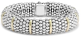 Lagos Sterling Silver Signature Caviar Bracelet with 18K Yellow Gold Stations