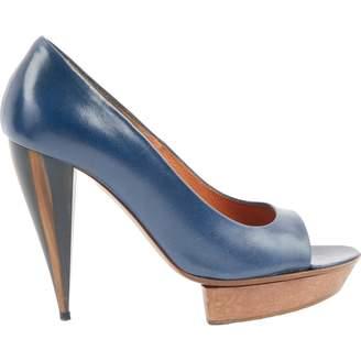Lanvin Navy Leather Heels