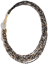 John Hardy Women's Legends Naga Bib Necklace 18K Gold with Black Mother of Pearl, Pave White Diamond (0.41ct)