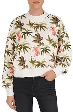 The Kooples Tropical Print Cotton Fleece Sweatshirt