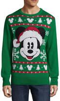 NOVELTY SEASON Novelty Season Crew Neck Long Sleeve Mickey Santa Cotton Blend Pullover Sweater