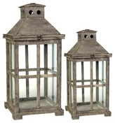 A&B Home Set Of 2 Wood And Glass Lanterns - Brown