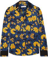 Altuzarra Marlowe Floral-print Silk-jacquard Blouse - Storm blue