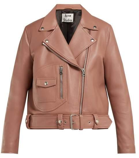 Acne Studios Merlyn Oversized Leather Biker Jacket - Womens - Nude