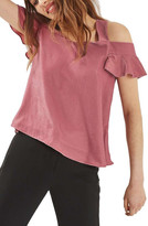 Topshop Polly Bardot Velvet Top