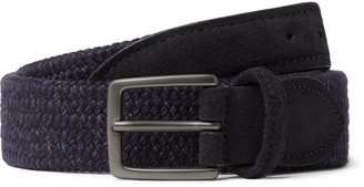 Andersons 3.5cm Suede-Trimmed Woven Wool-Blend Belt