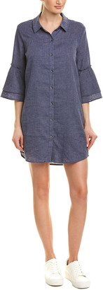 Splendid Bell-Sleeve Linen-Blend Shirtdress