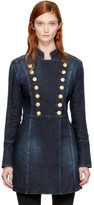 Pierre Balmain Blue Long Denim Coat