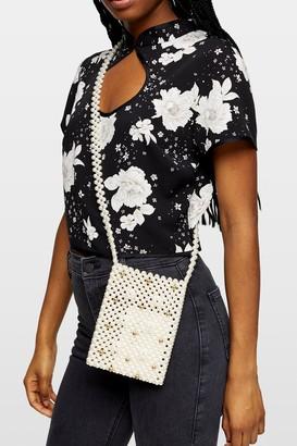 Topshop NINA Cream North/South Pearl Pouch Cross Body Bag