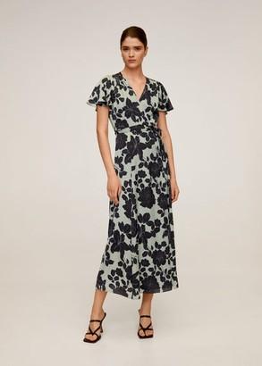 MANGO Embossed flower gown aqua green - 2 - Women