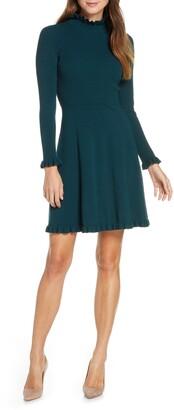 Eliza J Ruffle Trim Long Sleeve Sweater Dress