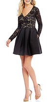 Teeze Me Long Sleeve Lace Bodice Party Dress