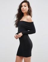 Asos Long Sleeve Deep Bardot Mini Bodycon Dress