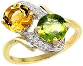 Gabriella Gold 14k Yellow Gold Diamond Natural Citrine & Peridot Mother's Ring Round 7mm, size 9.5