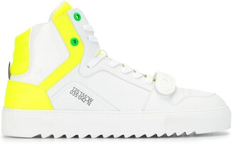 F Wd Contrast Panel Ridged Sole High Top Sneakers
