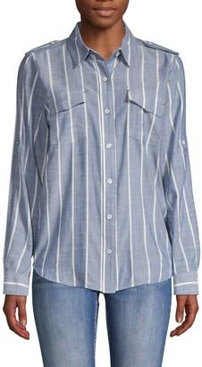 Karl Lagerfeld Paris Stripe Button-Front Blouse