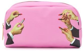 Seletti lipstick print make-up bag