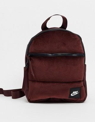 Nike velvet mini backpack in burgandy