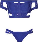 Herve Leger Off-the-shoulder cutout bandage bikini