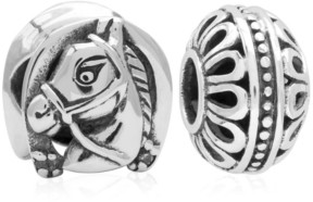 Rhona Sutton 4 Kids Children's Horse Filigree Bead Charms - Set of 2 in Sterling Silver