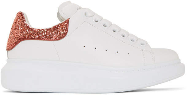 Alexander McQueen White and Red Glitter Oversized Sneakers