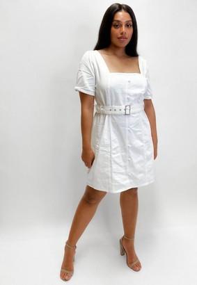Missguided Size White Belted Denim Puff Sleeve Denim Mini Dress