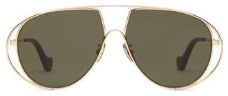 Loewe Metal Aviator Sunglasses - Green Gold