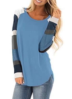 Actloe Women Crew Neck Color Block Long Sleeve Casual Pullover Sweatshirt Loose Tunic Tops