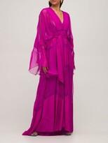 Thumbnail for your product : ZUHAIR MURAD Crepe De Chine & Lace Caftan Dress