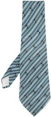 Hermes 1980's Pre-Owned Buckled Print Tie