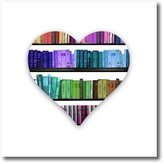 3dRose LLC ht_184865_3 InspirationzStore Love Series - I Heart Books - love heart shape containing colorful rainbow bookshelf - Iron on Heat Transfers - 10x10 Iron on Heat Transfer for White Material
