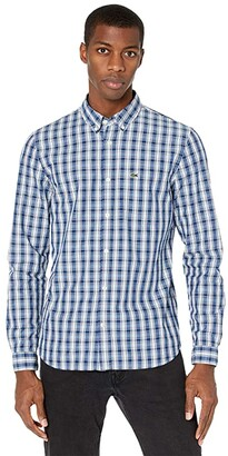 Lacoste Slim Fit Long Sleeve Check Poplin Shirt (Globe/White/Overview) Men's Clothing