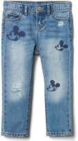 Gap babyGap | Disney Baby Mickey Mouse embroidered rip & repair girlfriend jeans