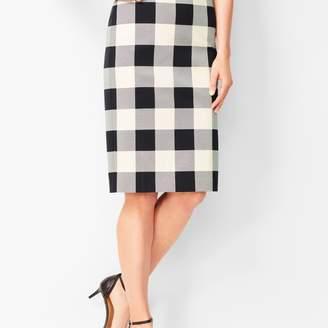 Talbots Twill Gingham Pencil Skirt