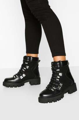 boohoo Lace Up Cleated Sole Combat Boots