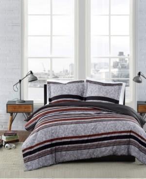London Fog Warren Stripe 3 Piece Comforter Set, Full/Queen Bedding
