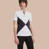 Burberry Geometric Motif Cotton Piqué Polo Shirt With Check Placket