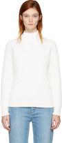 Victoria Beckham White Multi Rib Poloneck Sweater