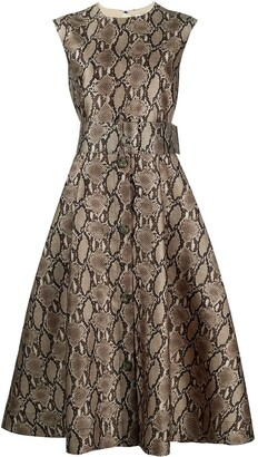 MSGM Belted Snake-Print Dress
