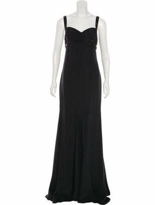 Marchesa Embellished Silk Dress Black