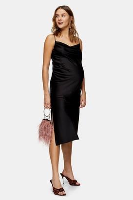 Topshop Womens **Maternity Black Ruched Bias Slip Dress - Pale Green M