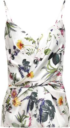 Bailey 44 Wrap-effect Floral-print Satin-twill And Stretch-jersey Camisole