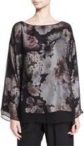eskandar Floral-Print Silk Tunic, Black Blossom